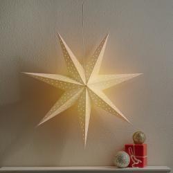 Markslöjd Hvězda Clara k zavěšení, samet Ø 75 cm, bílá