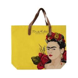 Žlutá plátěná taška s uchem z imitace kůže Madre Selva Frida Roses, 55x40cm