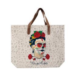 Plátěná taška s uchem z imitace kůže Madre Selva Frida Skull, 55x40cm
