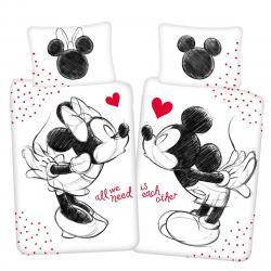 """Jerry Fabrics Dětské bavlněné povlečení Mickey a Minnie """"All we need"""", 140 x 200 cm, 70 x 90 cm"""