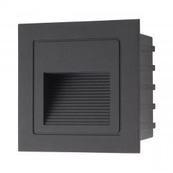 Arelux GS02WWIP65 BK Xghost, černé venkovní zápustné svítidlo do stěny, 2W LED 3000K, 8,5x8,5cm, IP65