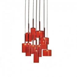 Axo light SPSPIL12RSCRG4L Spillray 12, závěsné svítidlo z červeného skla, LED 12x1,5W G4 průměr 49