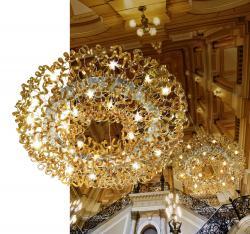 Metallux 206.610.06 Astro Amber, designové závěsné svítidlo v průměru 170cm, 28x40W, ambrové sklo, chrom