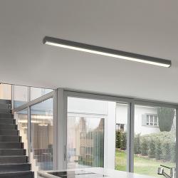 TeamItalia Mirò, černé lineární stropní svítidlo, 36W LED 3000K stmívatelné DALI, délka 112cm