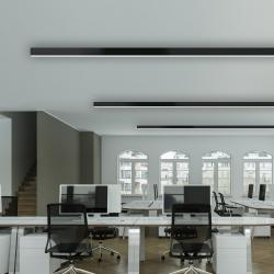 TeamItalia Mirò, černé lineární stropní svítidlo, 36W LED 4000K stmívatelné DALI, délka 112cm