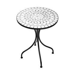 PALAZZO Stůl s mozaikou - bílá/černá