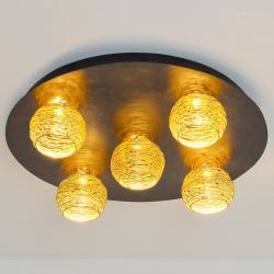 J. Holländer Stropní světlo Carillon se zlatými stínidly