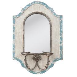 Clayre & Eef Bílo - modré nástěnné zrcadlo s držáky na svíčky - 48*17*70 cm
