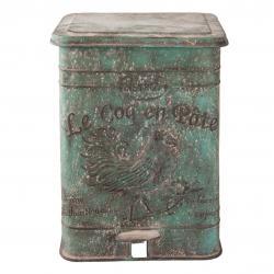 Clayre & Eef Zelený retro odpadkový koš s kohoutem - 26*30*35 cm/15L