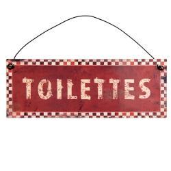 Clayre & Eef Kovová červená závěsná cedulka Toilettes - 20*7cm