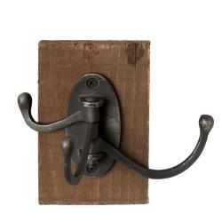 Clayre & Eef Černý kovový háček s dřevěnou deskou -  8*12*13 cm