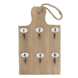 Clayre & Eef Věšák na klíče ve tvaru prkýnka - 21*4*45