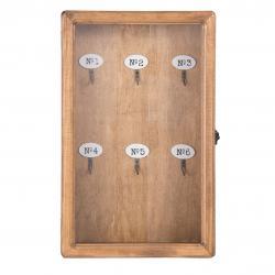 Clayre & Eef Dřevěná skříňka na klíče -  24*7*38 cm