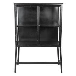 Clayre & Eef Černá kovová komoda Black s prosklenými dvířky - 86*40*125 cm