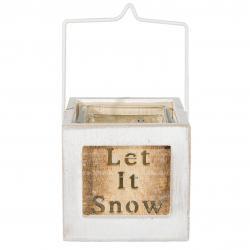 Clayre & Eef Dřevěný svícen s patinou Let it snow - 9*10*9 cm
