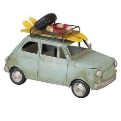 Clayre & Eef Kovový retro model auta s věcmi na dovolenou - 25*11*16 cm
