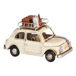 Clayre & Eef Kovový retro model béžového auta se zavazadly - 15*7*10 cm
