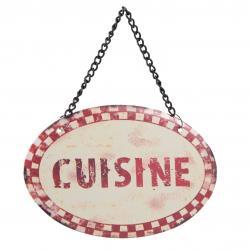 Clayre & Eef Béžová nástěnná cedulka na řetízku Cuisine - 12*8 cm