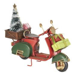 Clayre & Eef Retro model mopedu s vánočním stromkem a dárkem - 18*7*16 cm