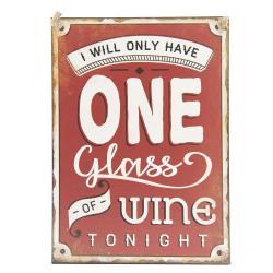 Clayre & Eef Červená plechová cedule Wine - 29*40 cm