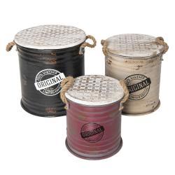 Clayre & Eef Sada 3 kovových úložných boxů ve vintage stylu Limited Edition – Ø 35*37 cm/Ø 30*33 cm/Ø 25*27 cm