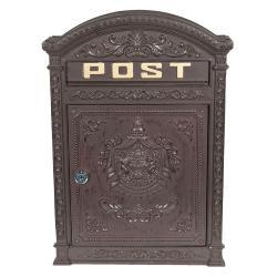 Clayre & Eef Hnědá poštovní schránka s ornamenty - 32*10*45 cm