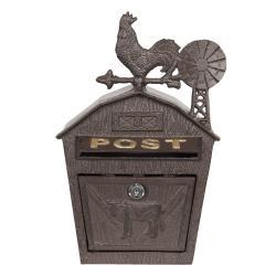 Clayre & Eef Hnědá kovová poštovní schránka s kohoutem - 24*9*38 cm