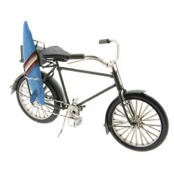 Clayre & Eef Kovový retro model bicyklu se surfovacím prknem - 23*9*13 cm