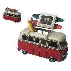 Clayre & Eef Kovový retro model autobusu s  fotorámečkem - 20*13*10 cm