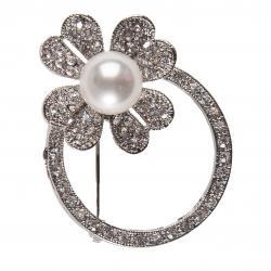 Clayre & Eef Brož s květinou, kamínky a perličkou  - 4,5 cm