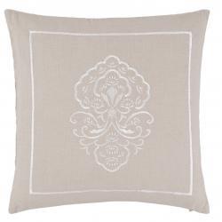 Clayre & Eef Béžový povlak na polštář s bílou výšivkou - 40*40 cm