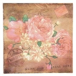 Clayre & Eef Papírové ubrousky květiny - 33*33 cm (20)