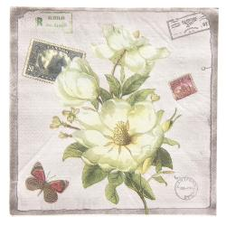 Clayre & Eef Papírové ubrousky květy - 33*33 cm (20)