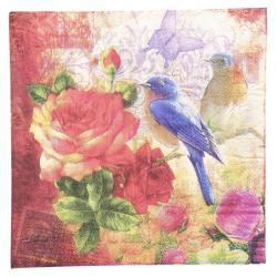 Clayre & Eef Papírové ubrousky s ptáčky a růžemi - 33*33 cm (20)