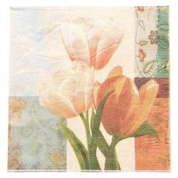 Clayre & Eef Papírové ubrousky tulipány - 33*33 cm (20)