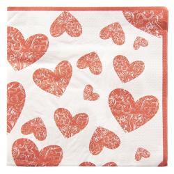 Clayre & Eef Papírové ubrousky srdce - 33*33 cm (20)