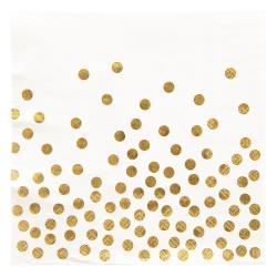 Clayre & Eef Bílé papírové ubrousky zlaté puntíky - 33*33 cm (20)