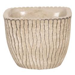 Clayre & Eef Béžový betonový obal na květináč s hnědými linkami - 13*13*11 cm