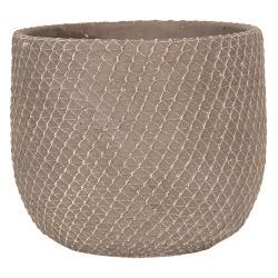 Clayre & Eef Šedý betonový květináč se vzorem - Ø 18*15 cm