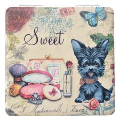 Clayre & Eef Příruční zrcátko s pejskem Sweet - 7*7 cm