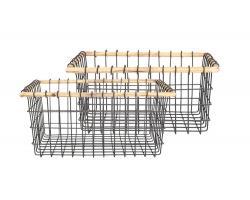 Clayre & Eef Sada 2 drátěných košíků s dřevěným okrajem - 39*31*18/32*25*16 cm