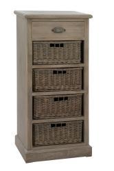J-Line by Jolipa Dřevěná skříňka s proutěnými košíky Jerome - 49*33*107 cm