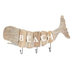 Clayre & Eef Dřevěný věšák velryba Beach - 58*5*27 cm
