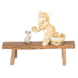 Clayre & Eef Dekorace Kočka a myš - 12*5*9 cm