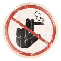 Clayre & Eef Nástěnná plechová cedule Zákaz kouření - ∅ 35 cm