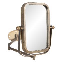 Clayre & Eef Otočné vintage zrcadlo v bronzovém rámu s upevněním na zeď - 34*2*35 cm
