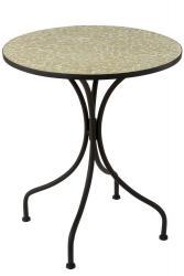 J-Line by Jolipa Kovový černý kulatý stůl s mozaikou Shard Yellow - ∅ 61*71 cm