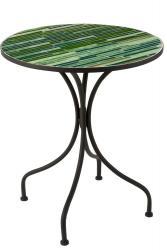J-Line by Jolipa Kovový černý kulatý stolek s mozaikou Lines - ∅ 61*71 cm