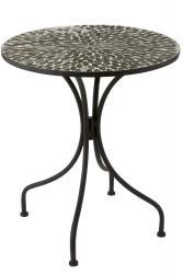 J-Line by Jolipa Kovový černý kulatý stůl s mozaikou Art - 61*61*71 cm