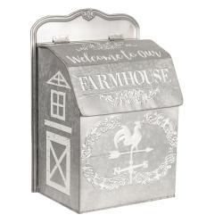 Clayre & Eef Šedá plechová poštovní schránka Farmhouse - 26*16*37 cm